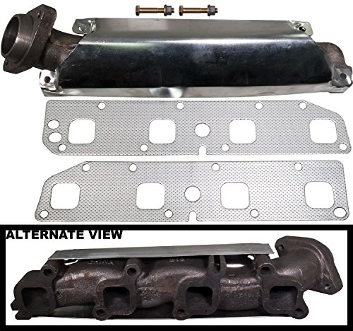 APDTY 785017 Exhaust Manifold Kit w/Gasket & Heat Shield Left Driver-Side For 2006-2007 Dodge Durango / 2003-2008 Dodge Ram 1500 2500 3500 (5.7L Hemi; Heavy Duty Cast Iron Design; Replaces 53032197AE) (Exhaust Manifold Heat Shield)