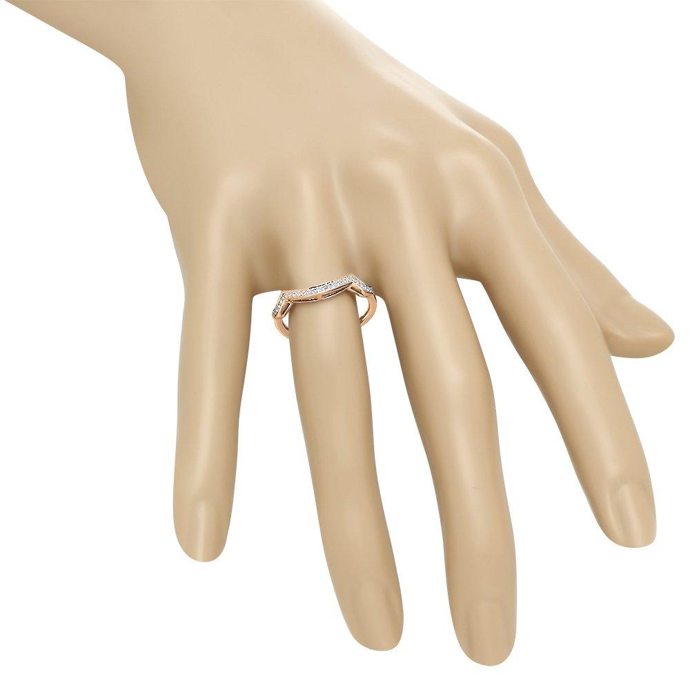 Dazzlingrock Collection 0.10 Carat (ctw) 10K White Diamond Ladies Wedding Contour Guard Ring 1/10 CT, Rose Gold, Size 7 by Dazzlingrock Collection (Image #5)