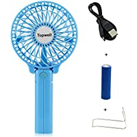 Topwell® Handfan Rechargeable Fans Portable Handheld Mini Fan Battery Operated Cooling Fan Electric Personal Fans Foldable Fans with 18650 Battery for Home and Travel (Blue)