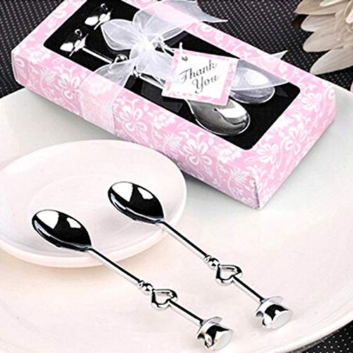 Coffee Scoops - Heart Measuring Spoons Tea Coffee Spoon Wedding Favors Love Gift Valentine 39 S Day With Pink Box - Bulk Plastic Rose Handle Canisters Coffee Tablespoon Steel Long Gold Stai