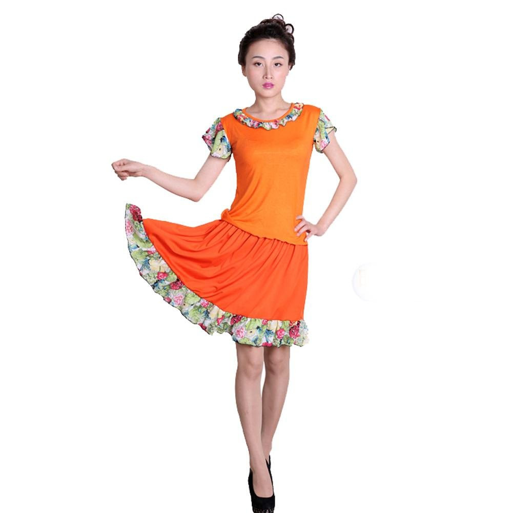 Orange Wgwioo Dance à Loisir Femmes Latin Square Dance Practice Match Uniformes Professional Perforhommece Sets Jupe S