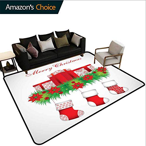 Bigdatastore Christmas Sports Door Mats Inside Non Slip, Stockings Hanging for Santa Mistletoe Illustration Merry Christmas for All, Fashionable High Class Living Dinning Room(2'x 6')