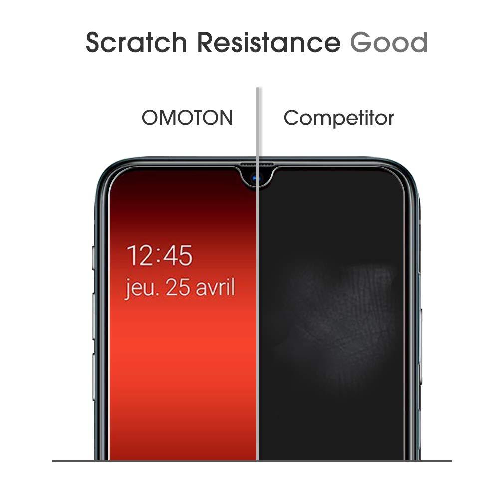 OMOTON [Lot de 4 Samsung Galaxy A70 Verre Trempé Protection Ecran en Verre pour Samsung Galaxy A70 [Clarté Cristale] Film de Protection [sans Bulle] [9H Dureté]