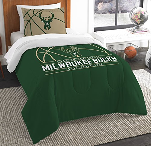The Northwest Company Officially Licensed NBA Milwaukee Bucks Reverse Slam Twin Comforter and Sham
