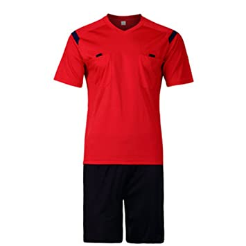 7b58f0c724c Firelong Sports Referee Jersey Suit Uniform Kit - Shirt + Shorts for Football  Soccer Rugby (