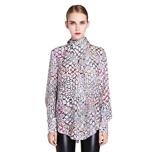 N.C.F. Women's Leopard Printed Blouse High Collar Full Sleeves Blouse Shirt