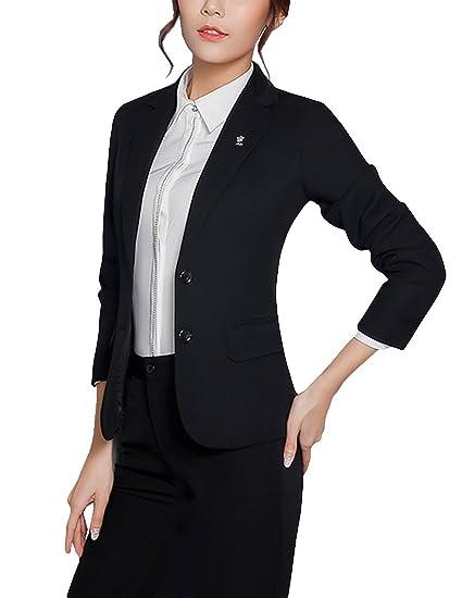 8849925bb4c MFrannie Women Floral Brooch Notch Lapel Formal Blazer and Skirt Set Black L