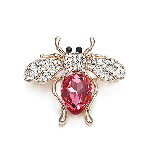 (YOYOMA Brooches for Women,Cute Bee Brooch Pins for Girls Dazzling Rhinestone Brooch for Brides Gold Vintage Brooch with Crystal (Rose Red Bee))