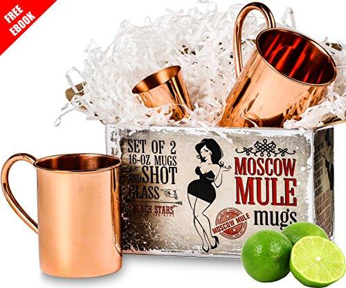 Moscow Mule Gift Set of 2 Pure Copper Mugs 16 oz Free Bonus - Quant Gift Box Copper Jigger Shot Glass and Recipe e-Book Included