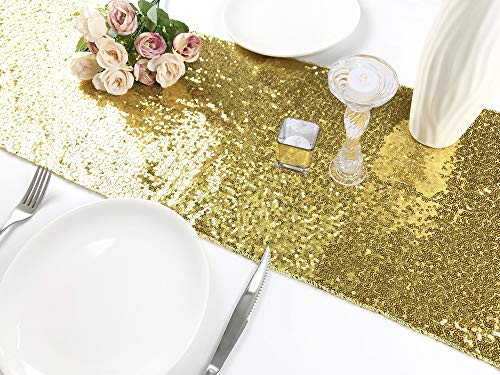 Rutien Sequin Table Runner 12x108-inch Sparkly Sequin Tablerunner Gold Elegant for Wedding/Birthday/Home/Event Party ()