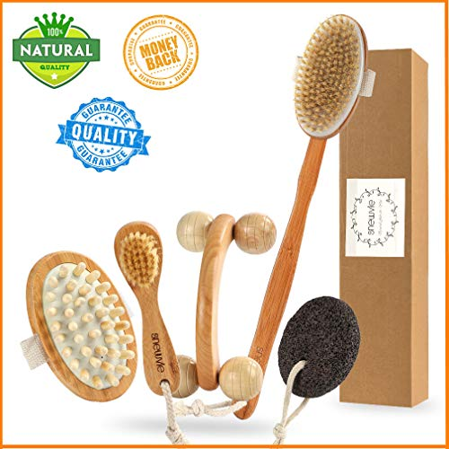 Dry Brushing Body Brush Set, Dry Skin Body Brush for Dead Skin Exfoliating & Lymphatic Drainage, Includes Natural Boar Bristle Brush, Cellulite Massager, Face Dry Brush, Pumice Stone, Roller Massager