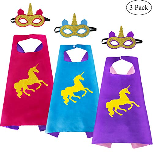iROLEWIN 3 Pack Kids Unicorn Superhero Capes and