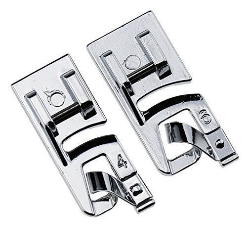 (STORMSHOPPING Narrow Rolled Hem Sewing Machine Presser Foot Set (4mm and 6mm)- Fits All Low Shank Snap-On Singer, Brother, Babylock, Euro-Pro, Janome, Kenmore, White, Juki, New Home, Simplicity, Elna)