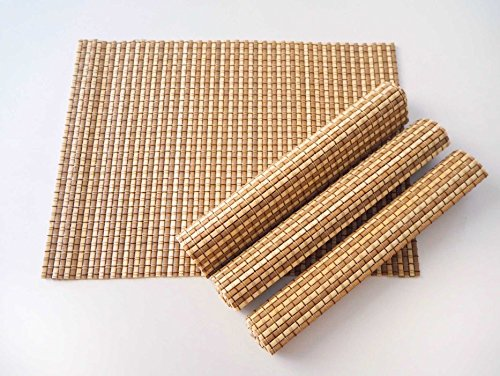 Bamboo Placemats Set of 4, Natural table mats are handmade with sticks of bamboo and string for a unique design, eco-friendly (Natural/Medium) -