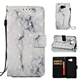 Galaxy A310 /A3 2016 Case, Firefish Marble [Card Slots] Slim-fit Premium PU Leather With Back Panel Cover Scratch Protective Flip Folio Shell for Samsung Galaxy A310 /A3 2016-Gray