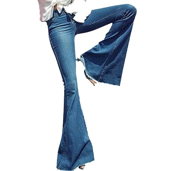 1772f872b7dd29 Rawdah- Jeans, Donna,Jeans a Zampa Donna Vita Alta Slim Fit Denim Flared  Pantaloni/Alti Pantaloni Yoga Svasati, Quattro Tasche, Stivale Lungo, ...