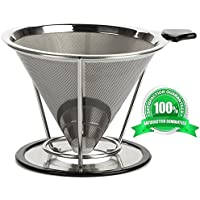 Coffee Filter-Coffee Dripper-Best Pour Over Coffee Filter Stainless Steel-(304)-Paperless and Reusable Coffee Maker Stand-Clever Coffee Cone Permanent for cup-Metal Large Coffee Cone Stainless-