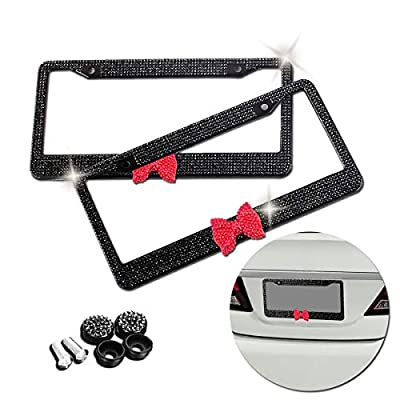VaygWay Bling License Plate Frame – Shiny Bling Frame with Bow – Crystal Glitter Rhinestones Car Plate – Bling Bling Womens Plate Frame – 2 Pk with Mounting Screws: Automotive