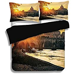 ZOMOY Black Duvet Cover Set Queen Size,Fall,Sunset at Tiber River St Peter Rome City Italy Basilica Touristic Ancient,Marigold Yellow Black,Decorative 3 Pcs Bedding Set