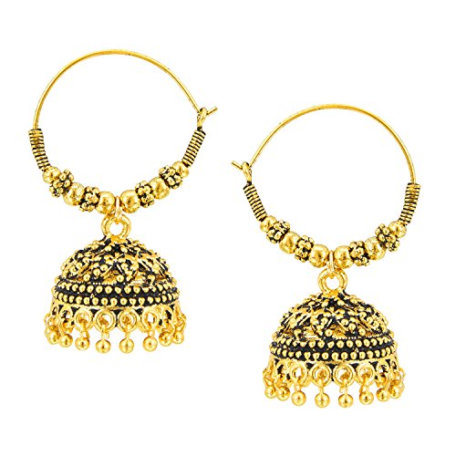 Bodha 18k Gold Plated Traditional Indian Jhumka Earrings with Pearl Hangings (SJ_784)