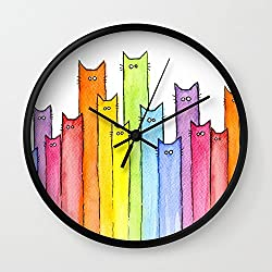 Society6 Cat Rainbow Watercolor Whimsical Animals Cats Pattern Wall Clock Black Frame, Black Hands