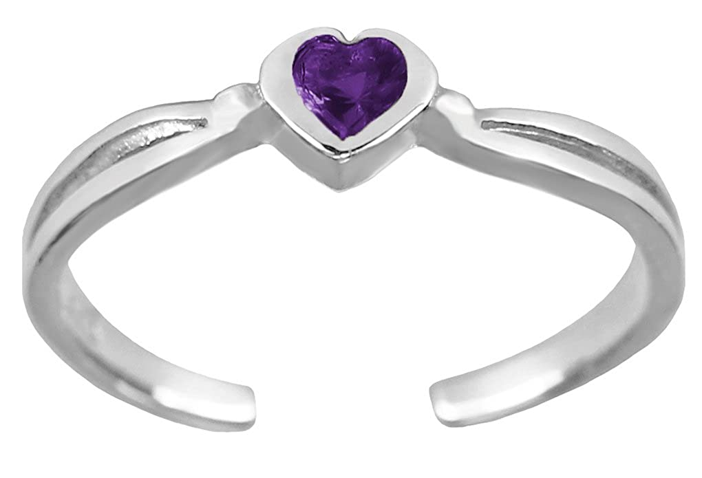BodySparkle Body Jewelry Purple Heart Toe Ring-Silver Color Imitation February Birthstone Toe Ring- NA