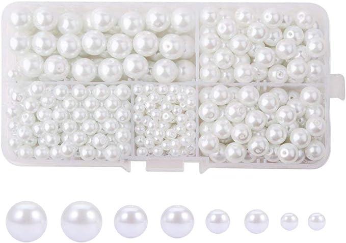 Vtg No Hole  Mix White Glass /& Plastic Ball Bead Jewelry Repair Craft Rhinestone