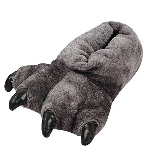 Casa Addensare Unisex Slipper Pantofole Zampa Adulto Caldo Morbido Scarpe Grigio Animale Up8dwdXq