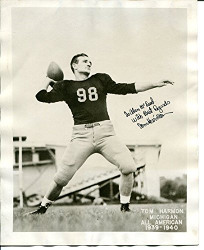 Tom Harmon Signed Photo 8x10 Autographed Michigan Heisman PSA/DNA AC94487 -