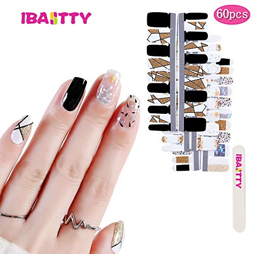 IBAOTTY 60pcs Nail Art Wraps Sticker Simple Nail Polish For Women Sticker Strips DIY Fullnail Polish patch Strips for Wedding, Party, Shopping, Travelling