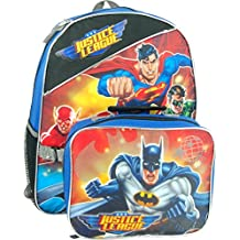 """Justice League 15\"""" Backpack with Lunch Bag - Superman, Batman, Green Lantern and Flash"""
