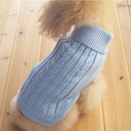 Tangpan Turtleneck Classic Straw-Rope Pet Dog Sweater Apparel (Blue,L) ()