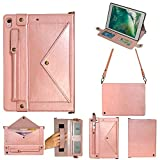 12.9 inch iPad Pro Case 2018,Pocket Stand Wallet File Folio Case, PU Leather Hangbag Magnetic Cover with Card Slot Multi Function Sleeve for iPad Pro 12.9' 3rd Gen 2018 (Rose Gold)