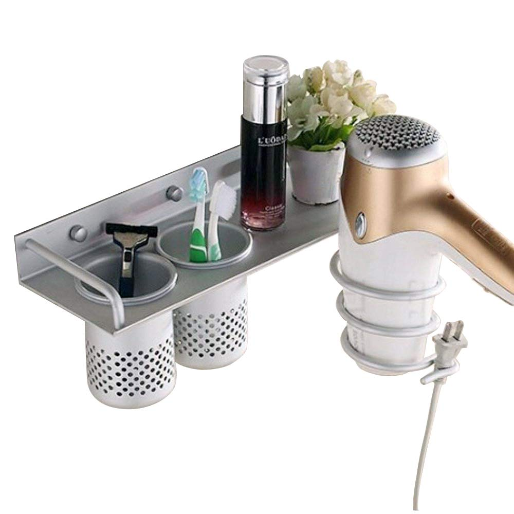 Aluminum Wall Mounted Hair Dryer Holder Spiral Hair Care Tools Hanging Rack Organizer for Blow Dryer, Flat Iron, Curling Wand, Straightener- with 2 Toothbrush Cups