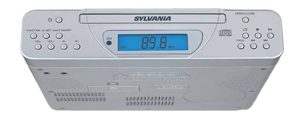 Amazon.com: Sylvania SKCR2613C Under Cabinet Kitchen CD Clock Radio With  Remote Control: Home Audio U0026 Theater