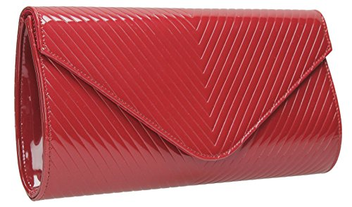 Quilt Bag Red Evening Style Viola Envelope Leather Detail V Smart Clutch Patent Pqq6wv