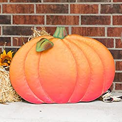 Big Metal Pumpkin Fall Yard and Porch Decoration