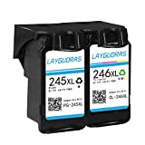 LAYGUDRAS Remanufactured Canon PG 245XL&CL 246XL High Yield Ink Cartridge show accurate ink level For Canon PIXMA MX492 MG2920 MG2520 IP2820 MG2420 MG2922 MG2924 Printer(1 Black+1 Tri-Color)