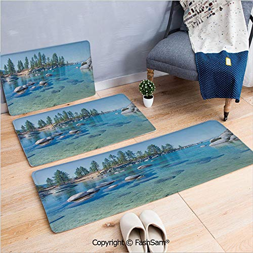 FashSam 3 Piece Non Slip Flannel Door Mat Lake Landscape with Trees and Rocks Forces of The Universe Earth Art Work Print Indoor Carpet for Bath Kitchen(W15.7xL23.6 by W19.6xL31.5 by W15.7xL39.4)