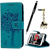S5 Case,Samsung Galaxy S5 Case (G900) - Wallet Embossed Flower Tree PU Leather Soft TPU Inner Cover with Magnetic...