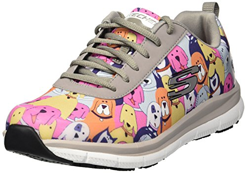 (Skechers Women's Comfort Flex Sr Hc Pro Health Care Professional Shoe,gray/multi,7.5 Wide US)