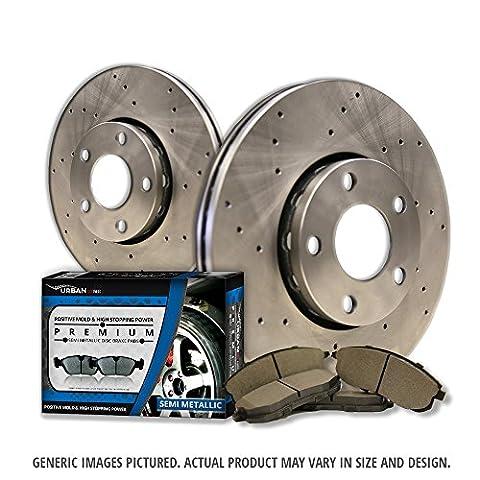 (Front Kit)2 Cross Drill Disc Brake Rotors + 4 Semi-Met Pads(6lug)-Combo Brake Kit