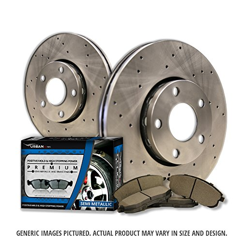 (Front Kit)2 Cross Drill Disc Brake Rotors + 4 Semi-Met Pads(6lug)-Combo Brake Kit (2011 Ford F150 Break Rotors compare prices)