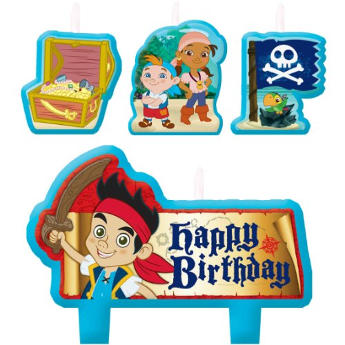 Party Time Disney Jake and the Neverland Pirates Mini Character Birthday Candle Set, Pack of 4, Multi, 1.5