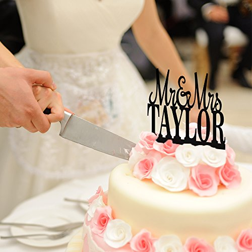 P Lab Personalized Cake Topper Mr. Mrs. Last Name Custom Wedding Cake Topper Rustic Wood Decoration Keepsake Engagement Favors for Special Event Cherry Wood by Personalization Lab (Image #1)