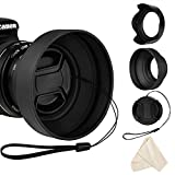 Veatree Lens Hood Set, Collapsible Rubber Lens Hood with Filter Thread + Reversible Tulip Flower Lens Hood + Center Pinch Lens Cap + Microfiber Lens Cleaning Cloth (58mm)