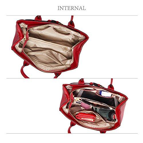 ANNA GRACE - Bolso de asas de piel sintética para mujer Design 1 - Burgundy