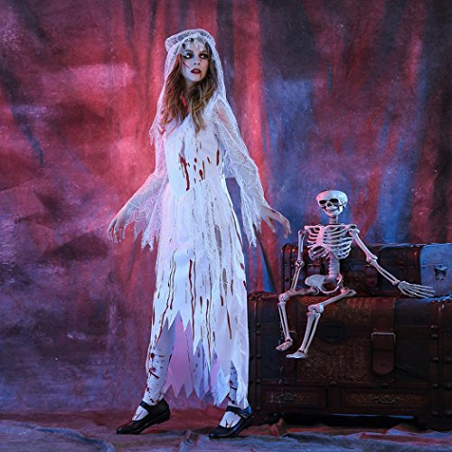 Muranba Adult Womens Sexy White Corpse Bride Halloween Cosplay Party Costume (L, White) (Guirnalda Happy Halloween)