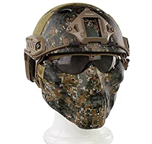 Myheartgoon PJ Type Tactical Fast Helmet & Tactical Mask & Goggle Combination for Airsoft Paintball (DW)
