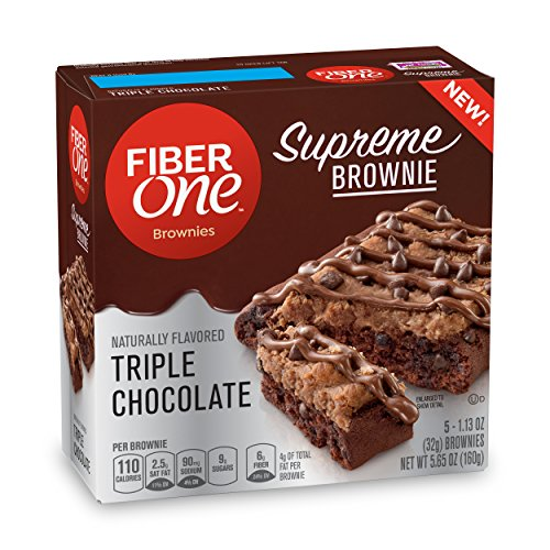 Fiber One  Supreme Brownie Triple Chocolate, 5 Count (Pack of 8)
